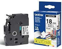 Brother TZE241 TZ-tape / 18mm. / Sort Tekst / Hvid Tape