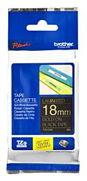 Brother TZE344 TZ-tape / 18 mm. / Guld Tekst / Sort Tape