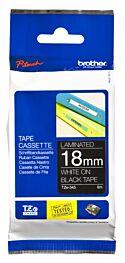 Brother TZE345 TZ-tape / 18 mm. / Hvid Tekst / Sort Tape