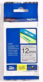 Brother TZEM931 TZ-tape / 12mm / Sort Tekst / Matt Sølv Tape