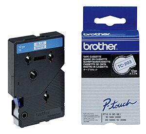 Brother TC203 TC-tape / 12mm./ Blå tekst / Hvid tape