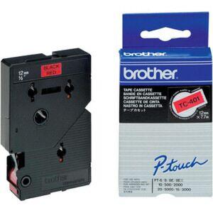 Brother TC401 TC-tape / 12mm./ Sort tekst / Rød tape