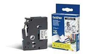 Brother TZE111 tape / 6 mm. / Sort Tekst / Klar Tape