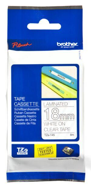 Brother TZE145 tape / 18 mm. / Hvid Tekst / Klar Tape