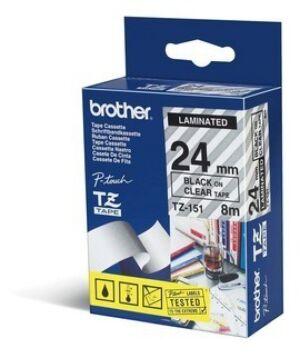 Brother TZE151 tape / 24 mm. / Sort Tekst / Klar Tape