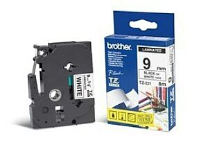 Brother TZE221 tape / 9 mm. / Sort Tekst / Hvid Tape