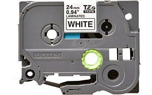 Brother TZE251 tape / 24 mm. / Sort Tekst / Hvid Tape