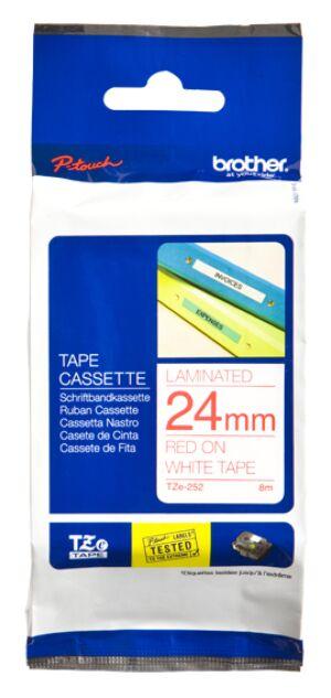 Brother TZE252 tape / 24 mm. / Rød Tekst / Hvid Tape