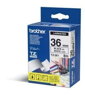 Brother TZE261 tape / 36 mm. / Sort Tekst / Hvid Tape