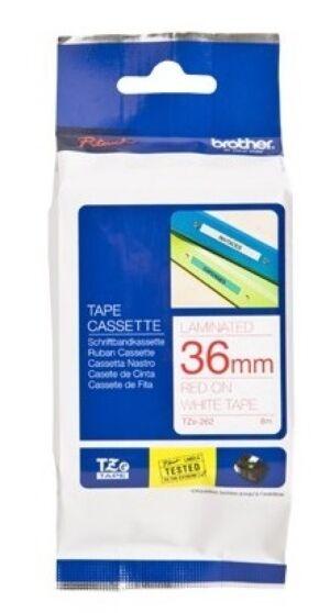 Brother TZE262 tape / 36 mm. / Rød Tekst / Hvid Tape