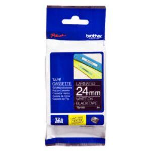 Brother TZE355 tape / 24 mm. / Hvid Tekst / Sort Tape