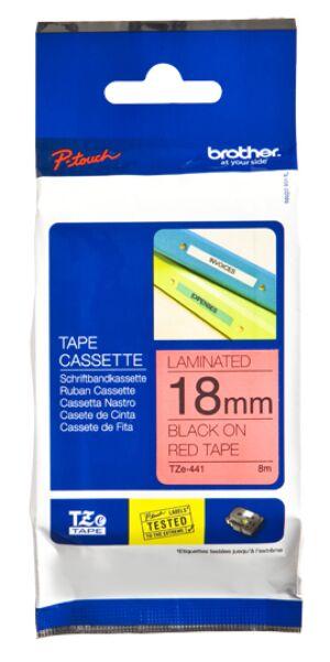 Brother TZE441 tape / 18 mm. / Sort Tekst / Rød Tape