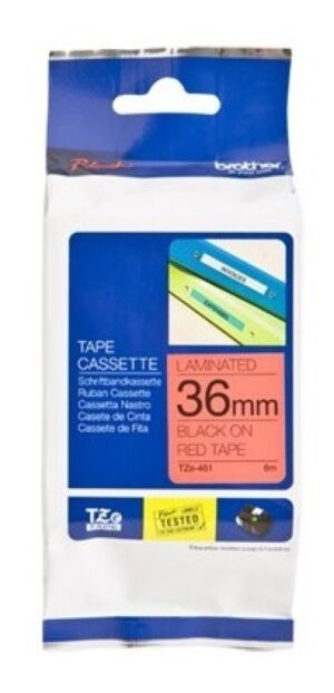 Brother TZE461 tape / 36 mm. / Sort Tekst / Rød Tape