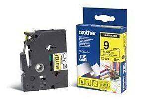 Brother TZE621 tape / 9 mm. / Sort tekst / Gul Tape