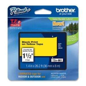 Brother TZE661 TZe-tape / 36mm. / Sort Tekst / Gul Tape
