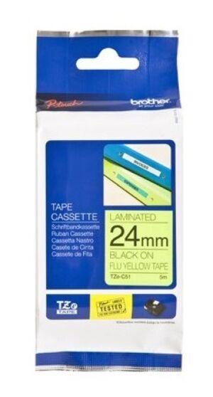 Brother TZEC51 TZe-tape / 24mm. / Sort Tekst / Neon Tape