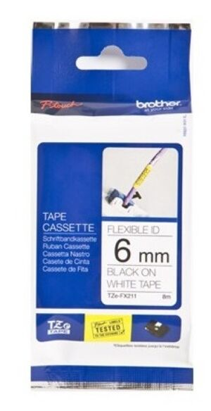 Brother TZEFX211 TZ-tape / 6mm / Sort Tekst / Hvid Tape