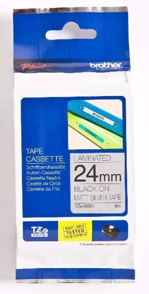 Brother TZEM951 TZe-tape / 24mm. / Sort Tekst / Mat Sølv Tape