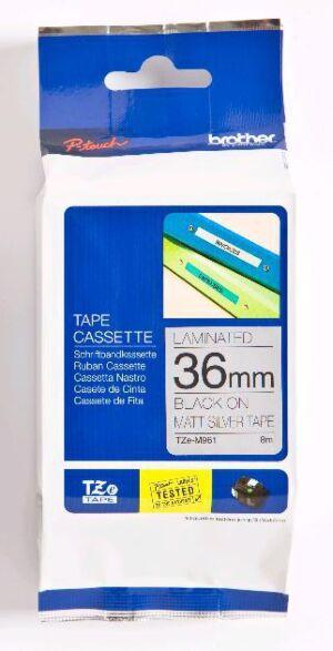 Brother TZEM961 TZe-tape / 36mm / Sort Tekst / Mat Sølv Tape