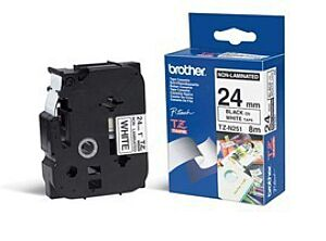 Brother TZEN251 TZ-tape / 24mm / Sort Tekst / Hvid Tape
