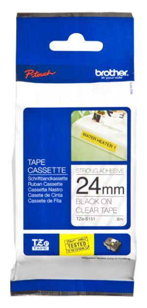 Brother TZES151 TZe-tape / 24mm / Sort Tekst / Klar Tape