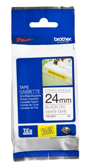 Brother TZS251 TZ-tape / 24mm / Hvid tekst / Sort Tape