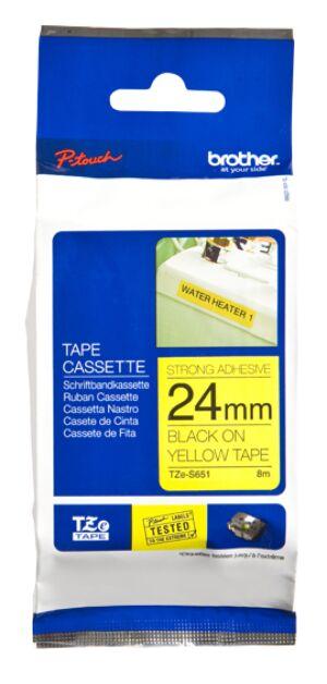 Brother TZeS651 TZ-tape / 24 mm./ Sort Tekst / Gul Tape