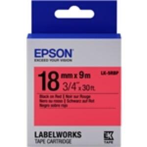 Epson LK-5RBP / 18mm / Sort Tekst / Rød Tape