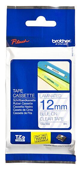Brother TZE133 tape / 12 mm. / Blå Tekst / Klar Tape