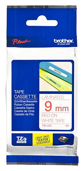 Brother TZe222 tape / 9 mm. / Rød Tekst / Hvid Tape