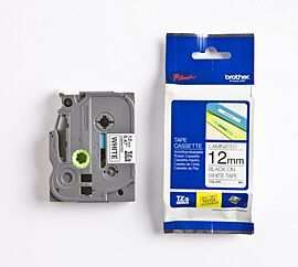 Brother TZE231 tape / 12 mm./ Sort Tekst / Hvid Tape