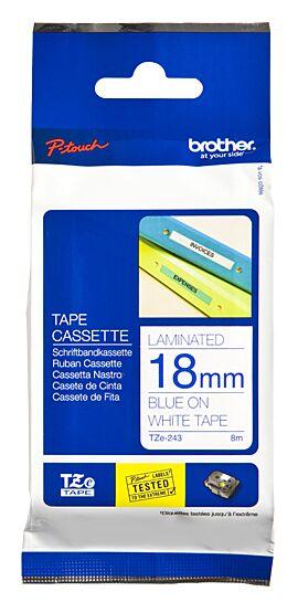 Brother TZE243 tape / 18mm. / Blå Tekst / Hvid Tape