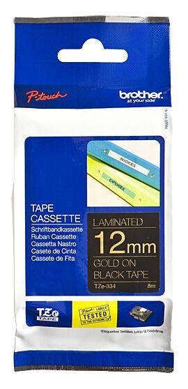 Brother TZE334 TZ-tape / 12 mm. / Guld tekst / Sort Tape