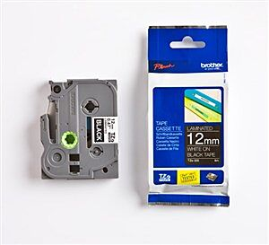 Brother TZE335 TZ-tape / 12 mm. / Hvid tekst / Sort Tape