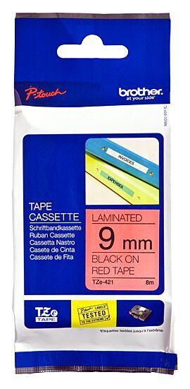 Brother TZE421 tape / 9 mm. / Sort Tekst / Rød Tape