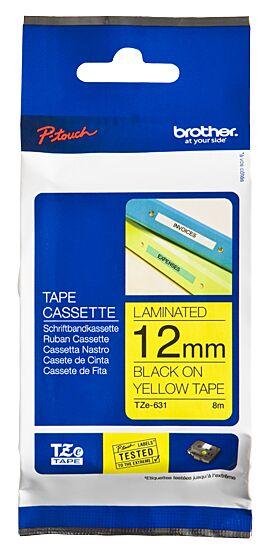 Brother TZE631 tape / 12 mm. / Sort tekst / Gul Tape