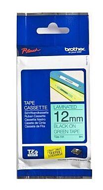 Brother TZE731 TZ-tape / 12mm / Sort Tekst / Grøn Tape