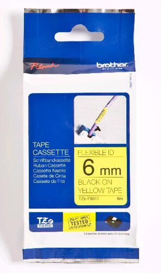 Brother TZEFX611 TZ-tape / 6mm / Sort Tekst / Gul Tape